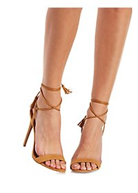Tasseled Lace-Up Dress Sandals