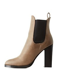 High Shaft Chunky Heel Chelsea Booties