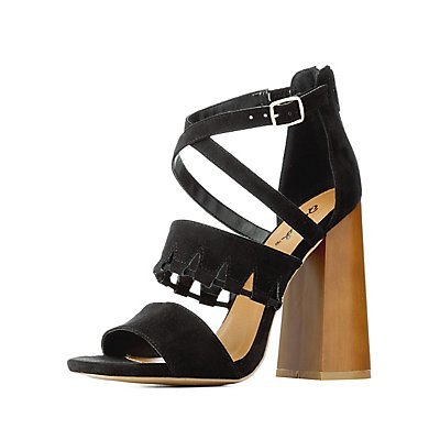 Qupid Cut-Out Chunky Heel Sandals