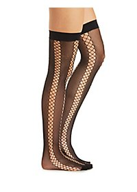 Striped Fishnet Over-the-Knee Socks
