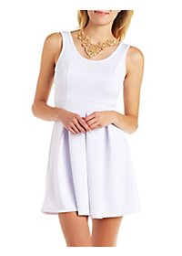 Scuba Knit Sleeveless Pleated Skater Dress