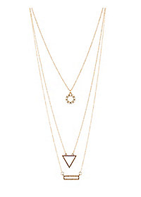 Geometric Rhinestone Layering Necklaces - 3 Pack