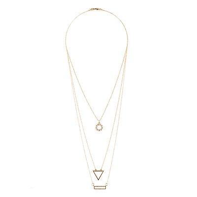 Geometric Rhinestone Layering Necklaces - 3 Pack
