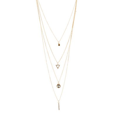 Layered Geometric Rhinestone Charm Necklace