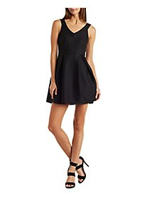 Texturted Sleeveless Skater Dress
