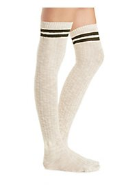 Striped Trim Over-the-Knee Socks