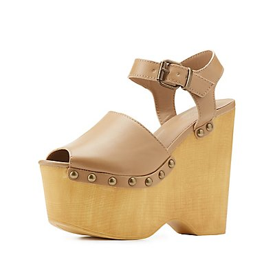 Studded Platform Wedge Sandals