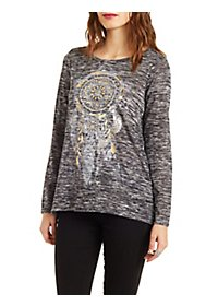 Marled Pullover with Dreamcatcher Graphic