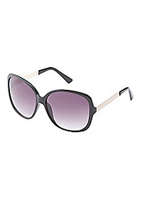 Metal Trim Oversize Sunglasses