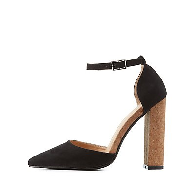 Cork Heel Pointed Toe Pumps