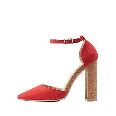 Cork Heel Pointed Toe Pumps