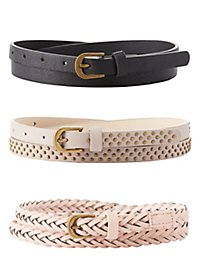 Studded & Woven Belts - 3 Pack