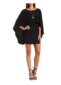 Backless Caped Shift Dress