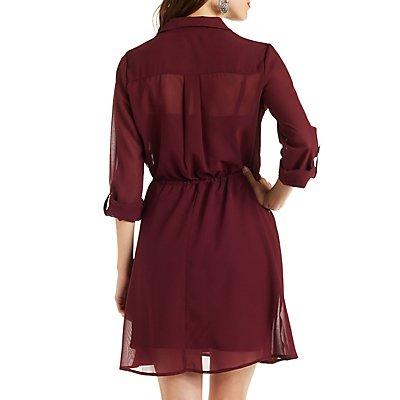 Chiffon Drawstring Waist Shirt Dress with Pockets