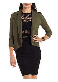 Three-Quarter Sleeve Open Front Blazer