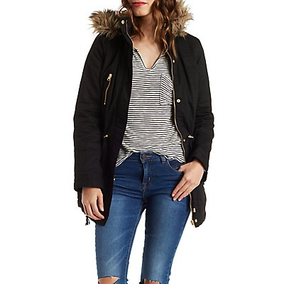 Anorak Jacket with Faux Fur Trim