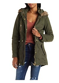Faux Fur Trim Hooded Anorak Coat