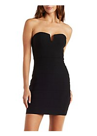 Seamed Strapless Tube Dress with Notched Bust