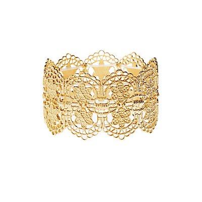Floral Filigree Stretch Cuff Bracelet