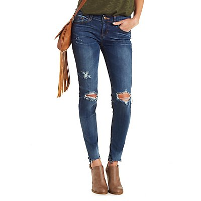 Sneak Peek Distressed Skinny Jeans with Frayed Hem