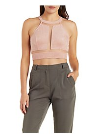 Faux Suede & Mesh Cut-Out Crop Top