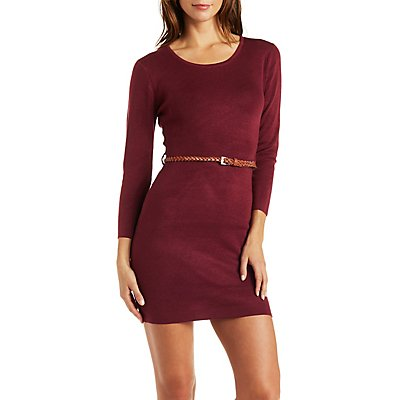 Belted Crew Neck Sweater Dress