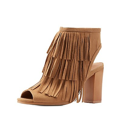 Fringed Open Toe Booties