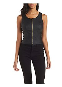 Zip-Up Faux Leather Tank