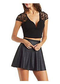 Lace Yoke V-Neck Crop Top