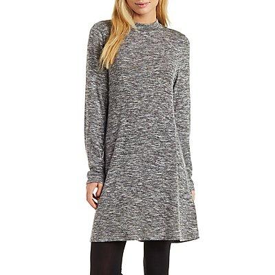 Mock Neck Marled Sweater Knit Shift Dress