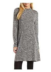 Mock Neck Marled Sweater Knit Shift Dress