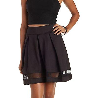 Pleated Mesh-Stripe Skater Skirt
