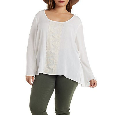 Plus Size Gauzy Embroidered Bell Sleeve Top