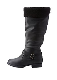WIDE FIT Shearling-Cuffed Riding Boots