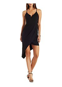 Strappy Plunging Asymmetrical Dress