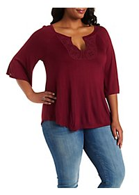 Plus Size Crochet-Trim Swing Top