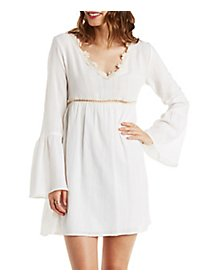 Crochet Trim Babydoll Peasant Dress