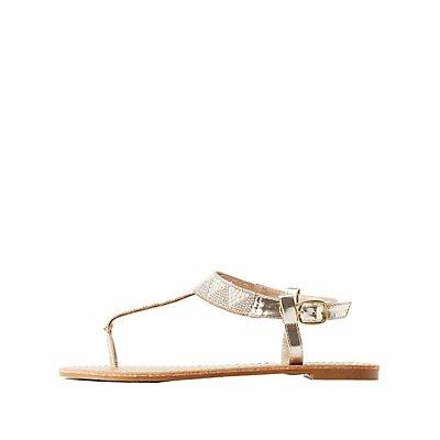 Rhinestone T-Strap Thong Sandals