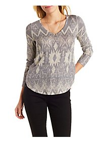 Sparkle Knit Patterned V-Neck Pullover Top