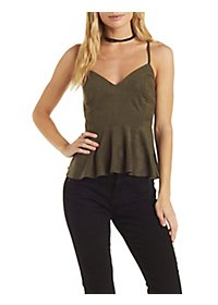 Faux Suede Peplum Top
