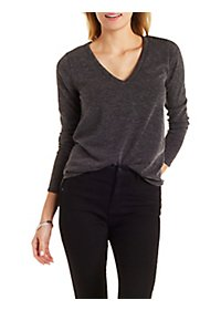 Marled V-Neck Pullover Sweater with Exposed Zipper