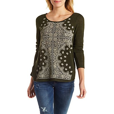 Metal Studded Paisley Print Sweater with Bar Back