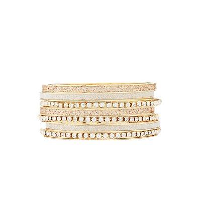 Glitter & Rhinestone Bangle Bracelets - 7 Pack