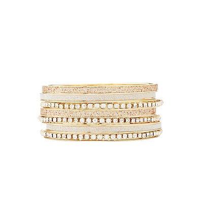 Glitter & Rhinestone Bangle Bracelets - 7 Pack