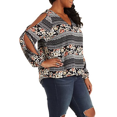 Plus Size Cold Shoulder Chiffon Top