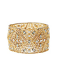 Filigree Rhinestone Stretch Cuff Bracelet