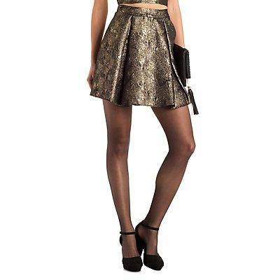 Textured Metallic Skater Skirt