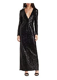 Plunging Long Sleeve Sequin Maxi Dress