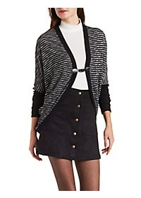 Buckled Dolman Sleeve Cocoon Cardigan