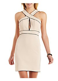 Textured Crisscross Sheath Dress